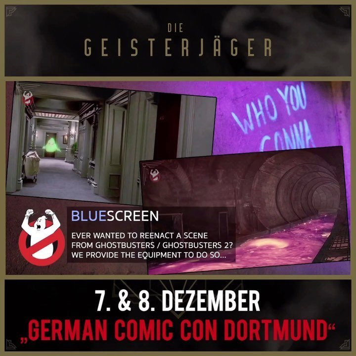 That's fun. Free blue screen pictures and videos at our booth ️ @germancomiccon @ghostbusters…