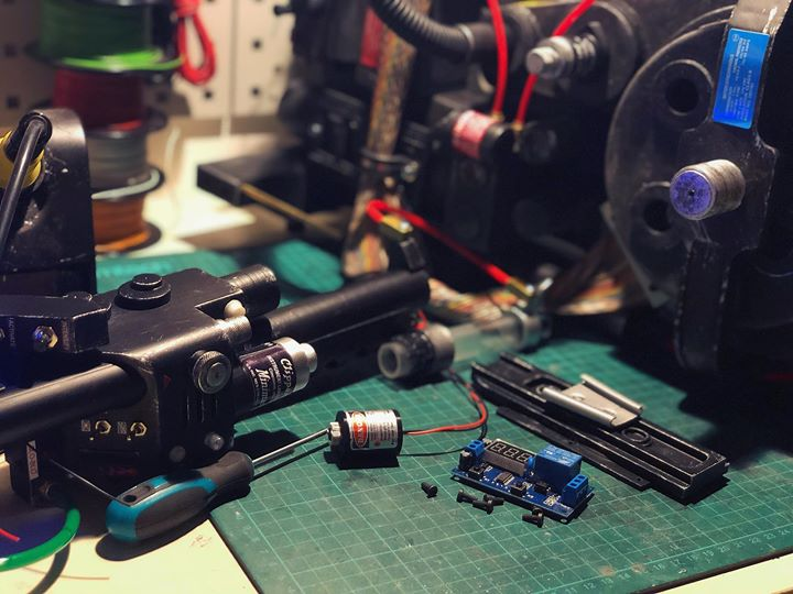 Working on the electronics for the project x proton pack