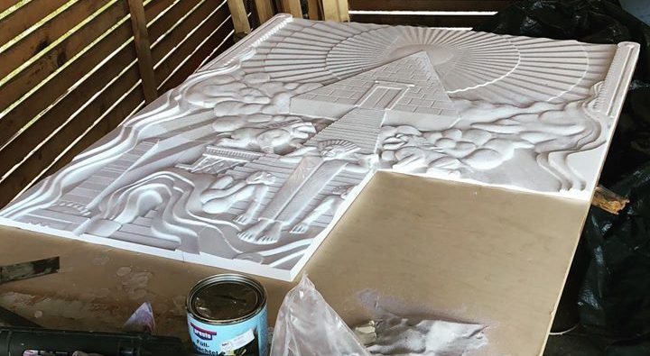 """Next update of our lifesize """"Gozer Temple door"""" project. #ghostbusters #slimer #gozer #fangroup"""